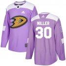 Ryan Miller Men's Anaheim Ducks Fights Cancer Purple Jersey