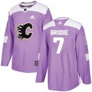 TJ Brodie Men's Calgary Flames Fights Cancer Purple Jersey