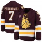 Minnesota–Duluth Bulldogs 7 Scott Perunovich Away Red Hockey Stitched Jersey