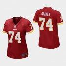 Women's Washington Redskins #74 Demetrius Rhaney Burgundy Stitched Jersey