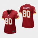 Women's Washington Redskins #80 Jamison Crowder Burgundy Stitched Jersey