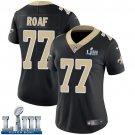 #77 New Orleans Saints Willie Roaf Women's Home Black Super Bowl LIII Jersey