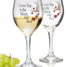 New Set of 2 Decorative Valentine Wine Glasses - I Love You To The Moon and Back