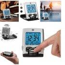 EXCLUSIVE SILVER  Travel Alarm Clock with Calendar & Temperature Battery Include