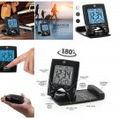 EXCLUSIVE Black Travel Alarm Clock with Calendar & Temperature Battery Included