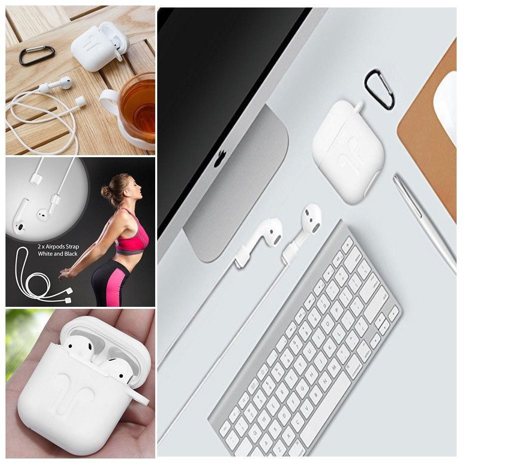 High QUALITY AirPods Case 7 In 1 Accessories Kit Protective Silicone Cover White
