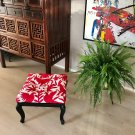 Antique stool upholstered with exclusive Otomi fabric.