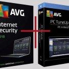 ⭐ Antivirus AVG Internet Security + AVG PC TuneUp 2018 ✅ 1 Year License ⭐ 1 PC ✅