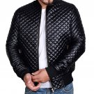 Motorcycle Men Quilted Black Faux Leather Jacket