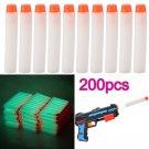200pack Glow Refill Bullet Darts for Nerf N-strike Elite Series Toy Gun(White)