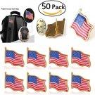 50pcs Lots United States USA American Flag Lapel Pin Hat Tie Tack Badge Pin