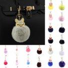 US Faux Fox Fur Fluffy Pompom Ball Handbag Car Pendant Charm Key Chain Keyrings