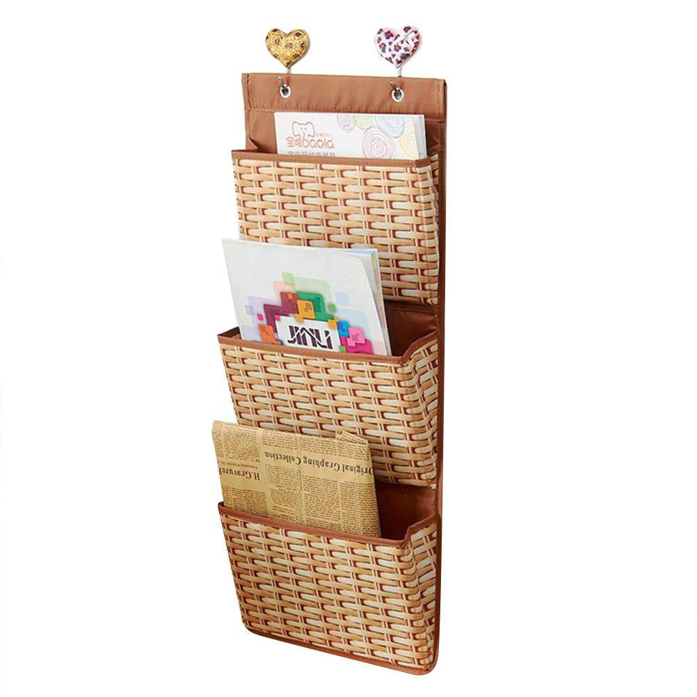 3 Pockets Hanging File Fabric Supplies Organizer Wall Mount Pocket Chart Storage