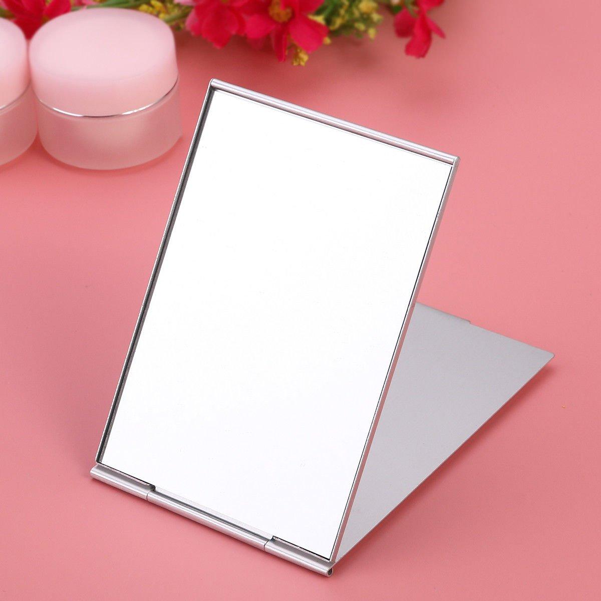 Mini Portable Vanity Mirror Single Side Travel Pocket Compact Mirror Silver