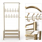 Golden 22 Hooks Metal Multi-Function Clothes Coat Stand Shoes Rack Set Stand USA