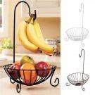 Kitchen Storage Collecting Basket Hanging Fruit Organiser Rack Utility w/ Hooks