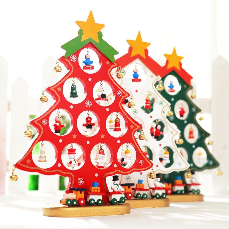 DIY Wooden Christmas Tree Table Desk Decoration Xmas Ornaments Festival Party