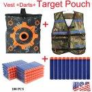 Vest Jacket Camouflage+100Bullets Darts+Storage Target Bag for NERF N-Strike Gun