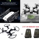LH-X28GWF Drone Dual GPS WiFi FPV 720P Camera Brushless Quadcopter + 2 Batteries