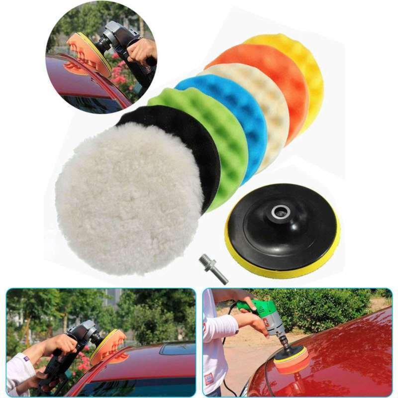 "8Pcs Polishing Waxing Buffing Sponge Pads 5""/6""/7"" Kit Compound Car Polisher US"