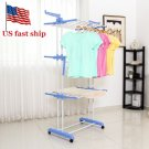 Folding Dryer Rack Hangers 3 Tiers Clothes Laundry Wheels Cloth Shoes Hanger