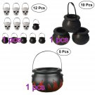 Halloween Witch Cauldron Kit Candy Bucket Kettle Broom Party Favors Supplies New