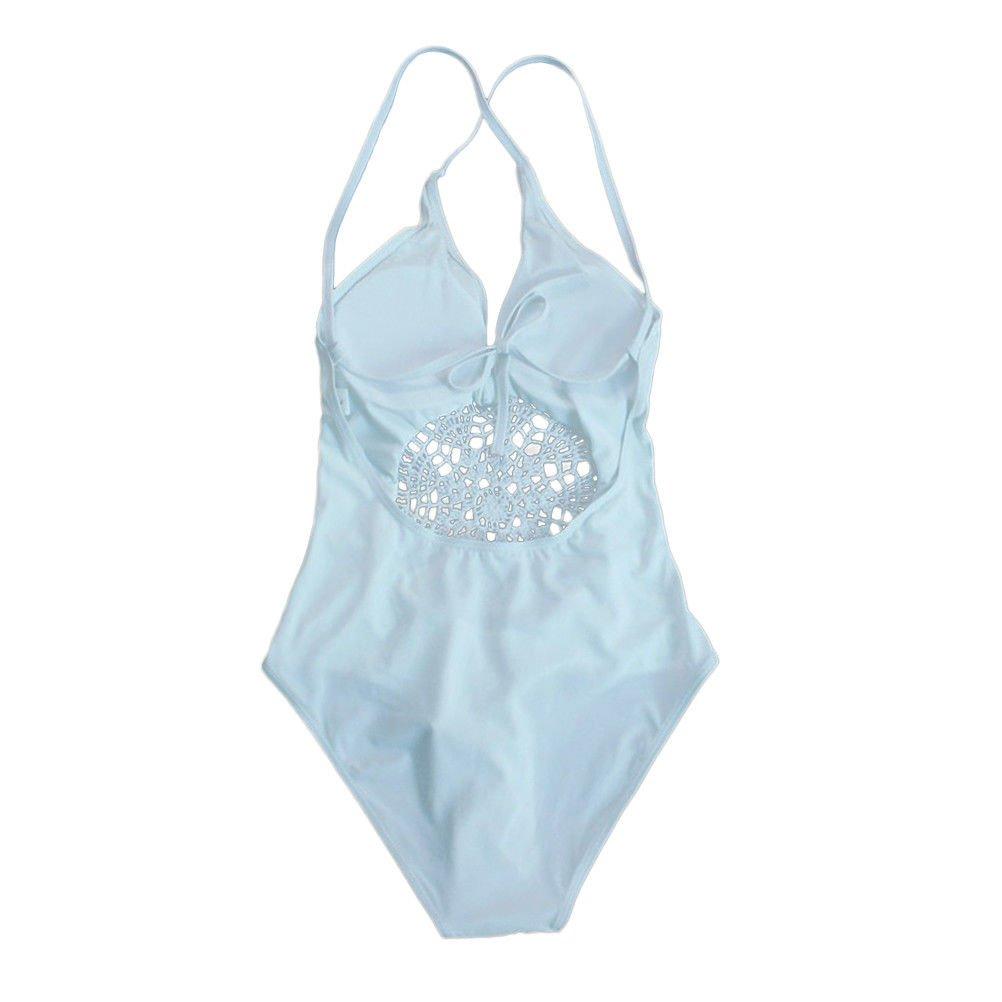 One Piece Sexy Deep V-neck Hollow High Waist Swimwear Bikini Swimsuit for Women