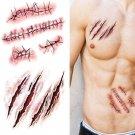 Prank Temporary Tattoo Sticker Terror Wound Realistic Blood Injury Scar