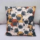 1 Pc Cushion Cover Creative Square Pillow Case for Living Room Bedroom (Pug dog)