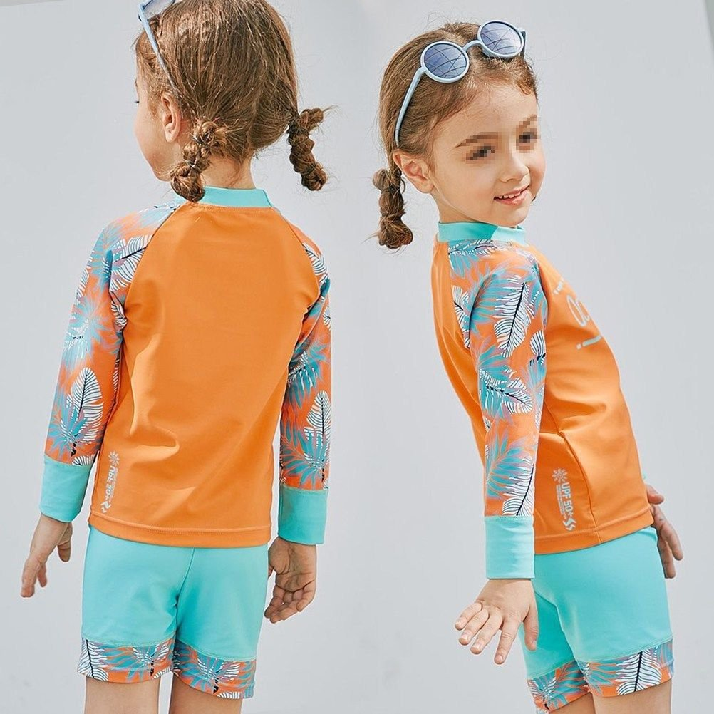 Kids Two Pieces Swimsuit Sunscreen Cartoon Bathing Suits for Girls