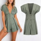 Short Sleeve Stylish Deep V Neck Sexy Summer Rompers for Party Summer Date Beach