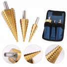 3pcs/set HSS Steel Step Cone Drill Titanium Bit Set Hole Cutter 4-12/20/3-12mm