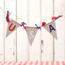2M USA Burlap Bunting Banner Jute Flags Pennant Decor for American Forth of July
