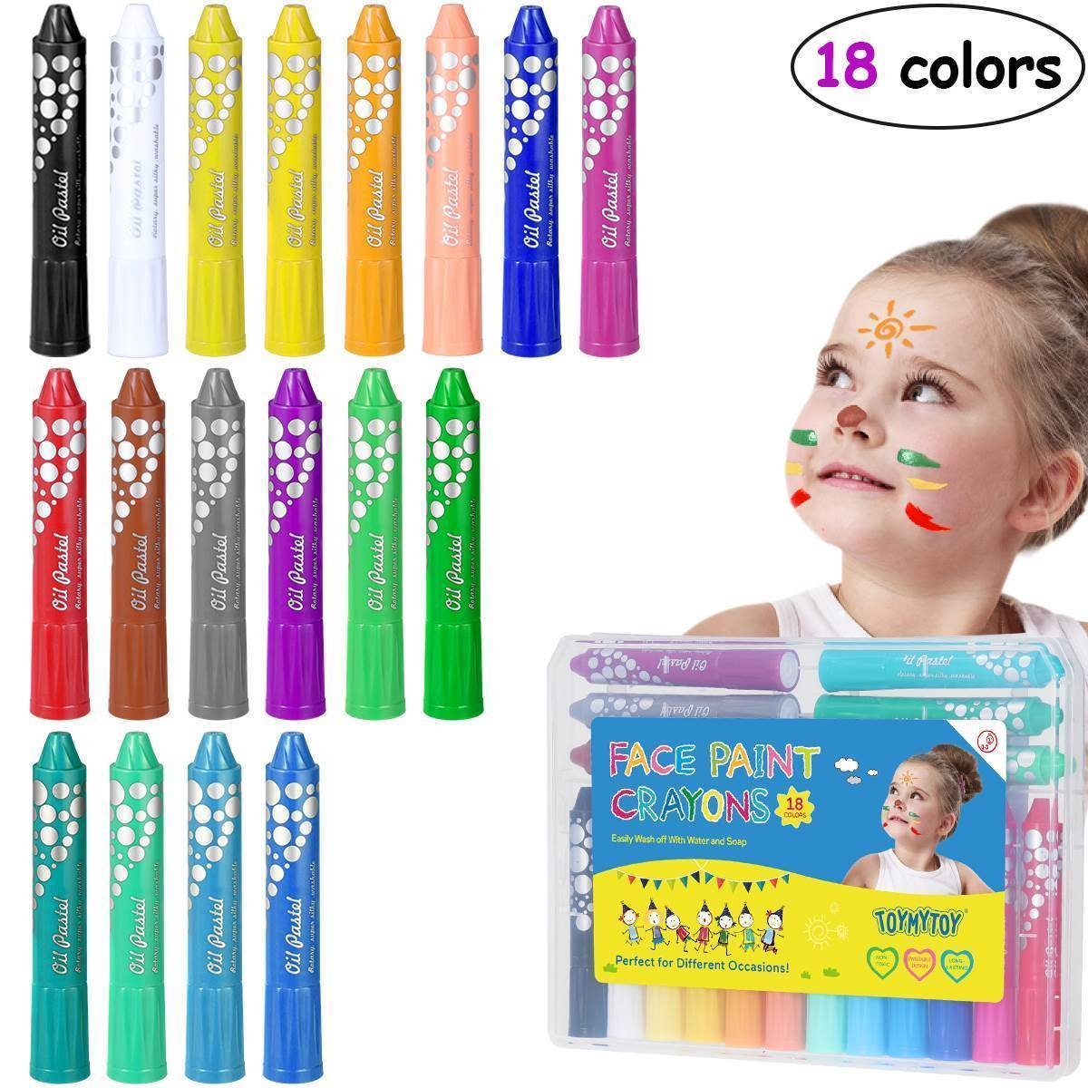 TOYMYTOY 18 Colors Bright Washable Twistable Face Paints for Party Makeup