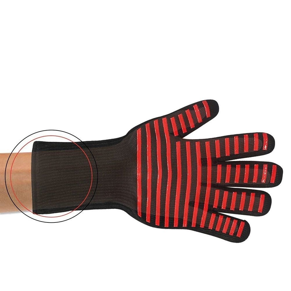 2Pcs BBQ Gloves Aramid Fiber Heat Resistant Oven Mitt for Cooking Smoking Baking
