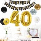 40th Birthday DIY Tissue Flowers Pom Poms Paper Garland Banner Balloons Kit