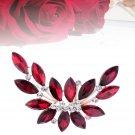 Women Bouquet Brooch Brightred Crystal Leaf Shape Rhinestone Corsage for Wedding