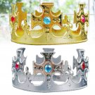 2Pcs Party Tiara Royal Queen Crown Hats Birthday Decor for Kids Girls