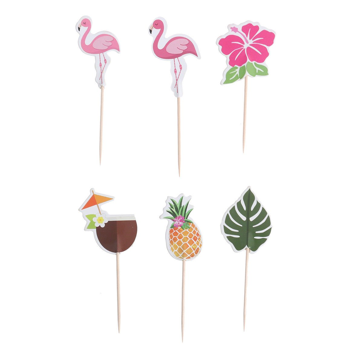 Hawaii Cake Decor Paper Flamingo Pineapple Cake Decor for Birthday Theme Party