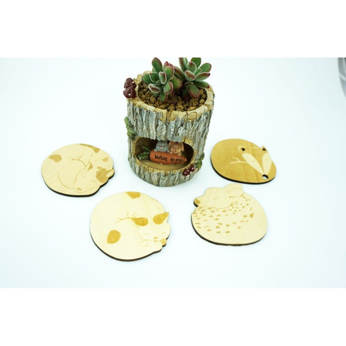5pcs/set Premium Practical Cartoon Animal Wooden Coasters Heat Insulation Pad