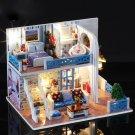 Kids DIY Wooden Handcraft Miniature Romantic Provence Doll House LED Light Gift