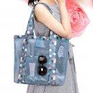 Women Shoulder Bag Portable Flower Printed Mesh Travel Beach Outdoor Handbag Bag