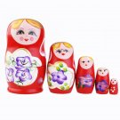 5Pcs Wooden Dolls Russian Nesting Babushka Matryoshka Hand Painted Gift Toy