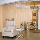 ANMINY Glitter String Door Curtain Bead Room Dividers Beaded Fringe Window Panel Champagne color