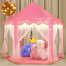 Pink Princess Castle House Indoor/Outdoor Kids Play Tent for Girls w/ LED Lights USA