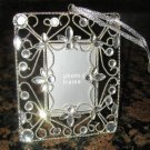 "NEW!  Beautiful Silver Christmas Ornament  Picture Frame with Crystals 2"" X 3"" YEAR-ROUND"