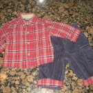 OSH KOSH Adorable 6 - 9 month boy's Christmas Outfit! L/S Tartan Plaid with Black Corduroy Pants set