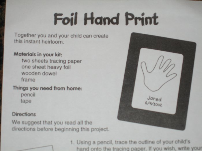Christmas Gift! FOIL HAND PRINT KIT! Instant heirloom! Embossing, Stamping or Scrapbooking!