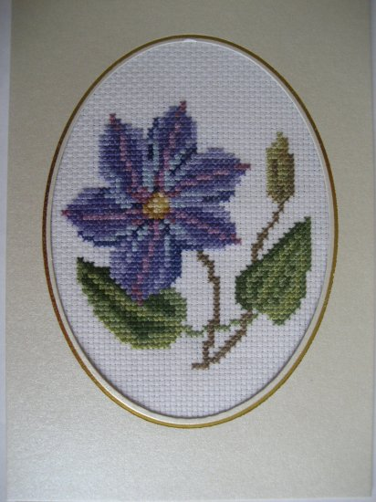 finished cross stitch card pretty flower