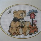 Finished cross stitich card Spring bear